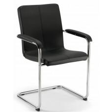 Vergaderstoel / Conferentiestoel Comfort / Levanto in Zwart Leer, ook in Wit leer leverbaar. GOEDKOOPSTE VAN NEDERLAND