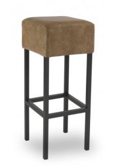 Cube Barkruk Retrolook Cognac, Frame Zwart gelakt|VDB Kantoortotaal