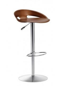 Barkruk John Design Paolo Vernier van Midj Italy Leer Chroom|VDB Kantoortotaal