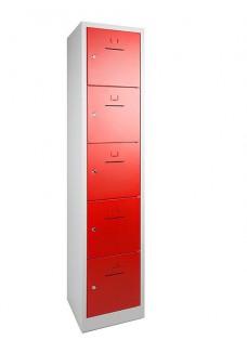 Lockerkast SHC 5 deurs Grijs/Rood VDB Kantoortotaal