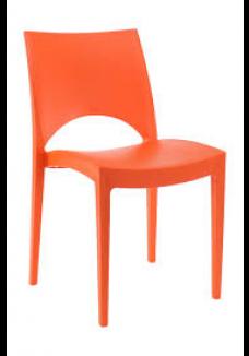 Kantinestoel/ terrasstoel/kunststofstoel Parri oranje|VDB Kantoortotaal