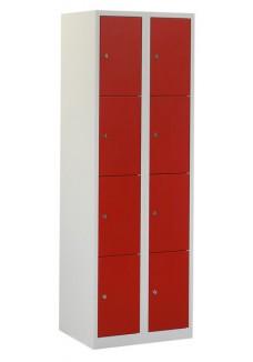 Locker 8 deurs grijs rood
