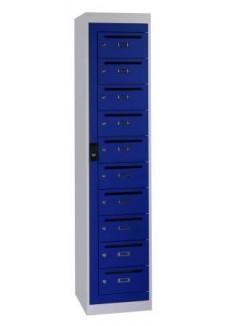 Postkast 10 deuren blauw