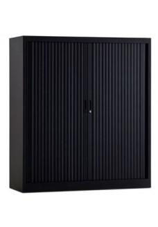 Roldeurkast 135 cm zwart 3 legborden.