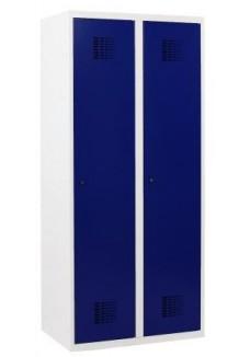 garderobekast 2 drs grijs-blauw|VDB Kantoortotaal