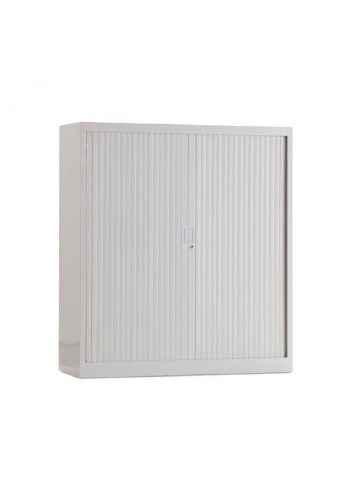 Roldeurkast 135 cm wit  3 legborden