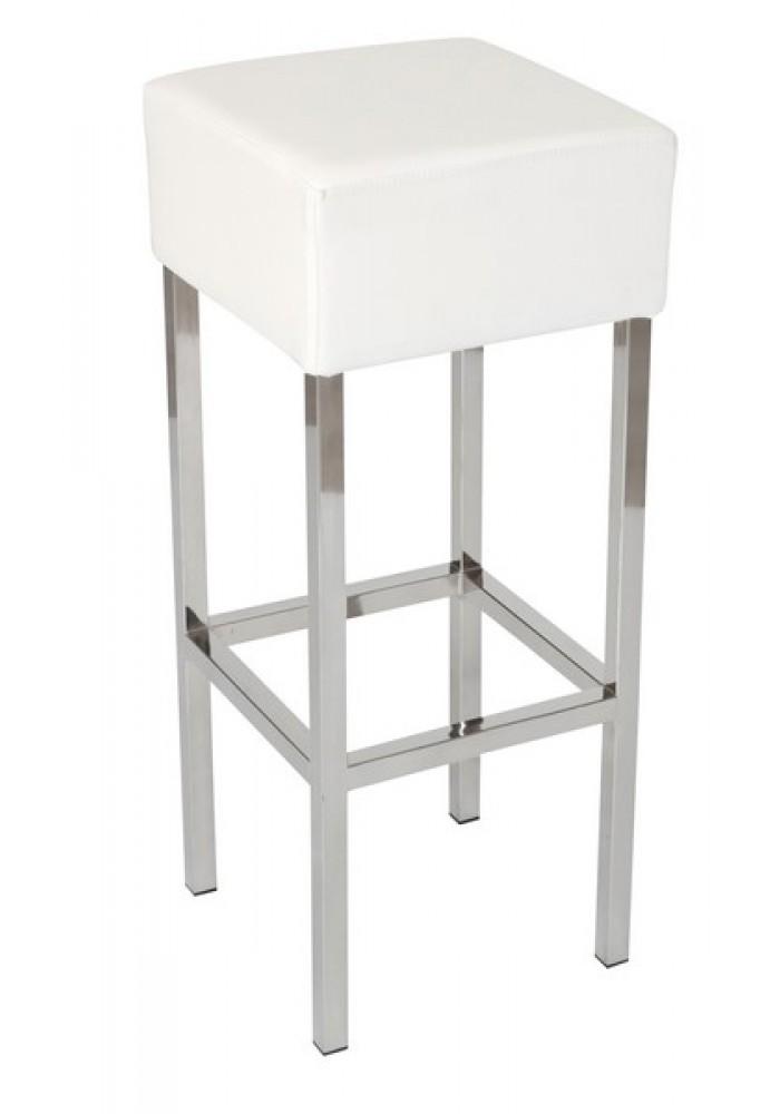 Barkruk Cube Wit Chroom|VDB Kantoortotaal
