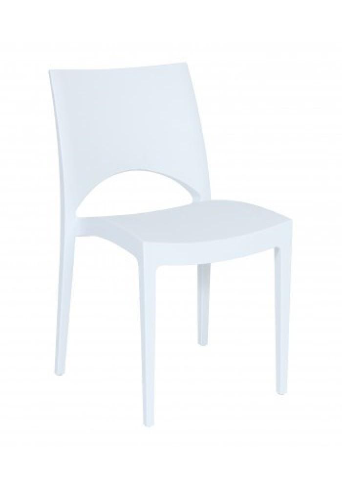 Kantinestoel/ terrasstoel/kunststofstoel Parri wit|VDB Kantoortotaal