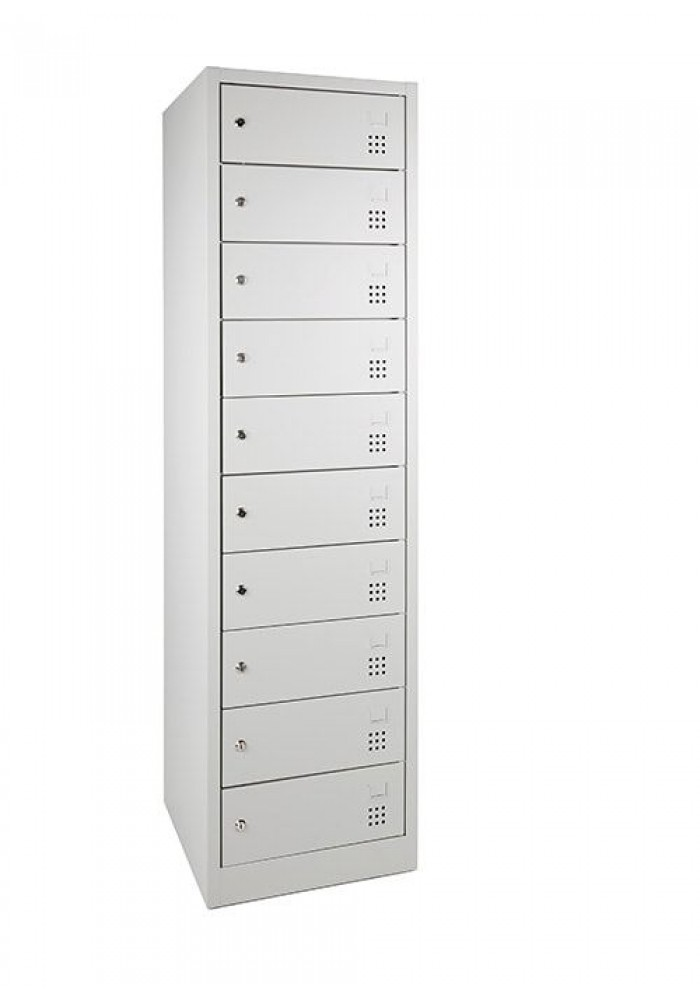 Laptopkast LCL (met laadstation), Dicht, Met 10 afsluitbare lockers Grijs|VDB Kantoortotaal