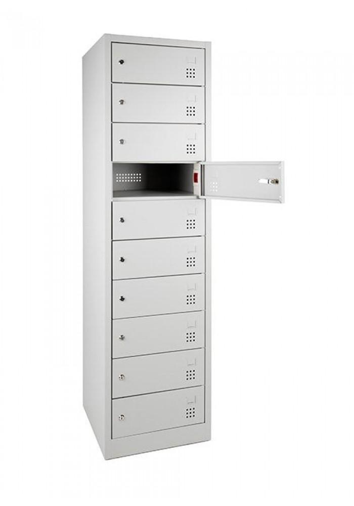 Laptopkast LCL (met laadstation), Open, Met 10 afsluitbare lockers Grijs|VDB Kantoortotaal