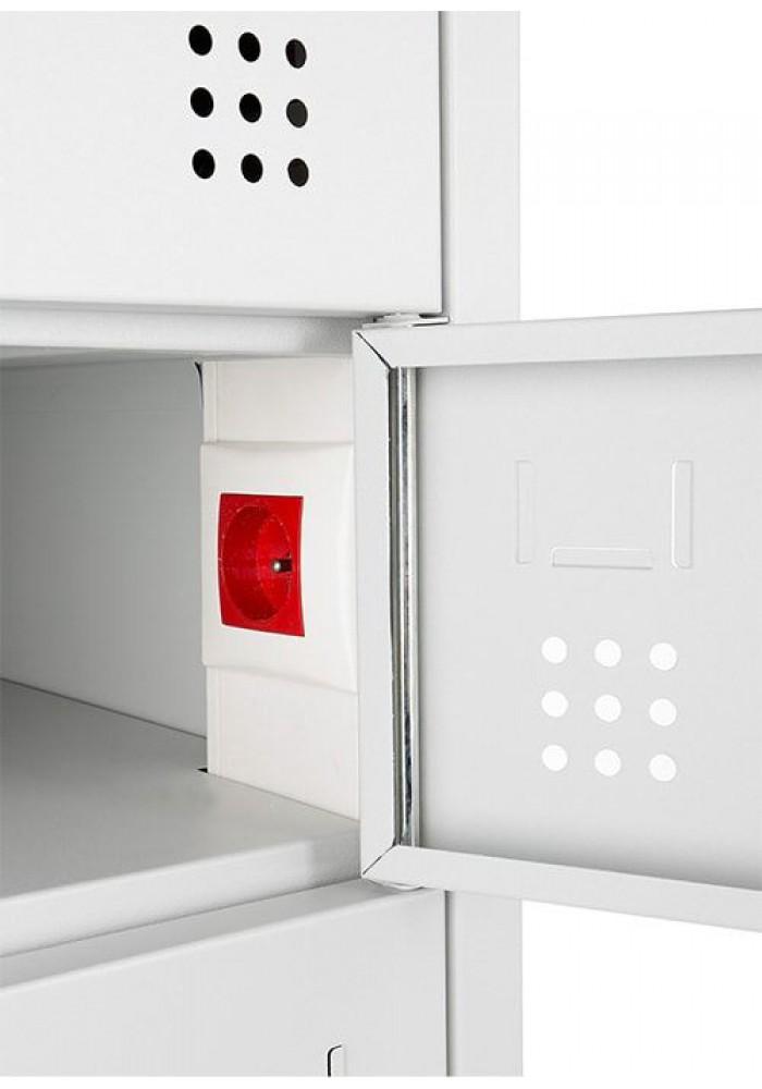 Laptopkast LCL (met laadstation),Open,  Met 10 afsluitbare lockers Grijs|VDB Kantoortotaal