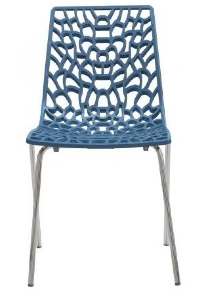 Designstoel / kantinestoel Move hoogglans Blauw|VDB Kantoortotaal
