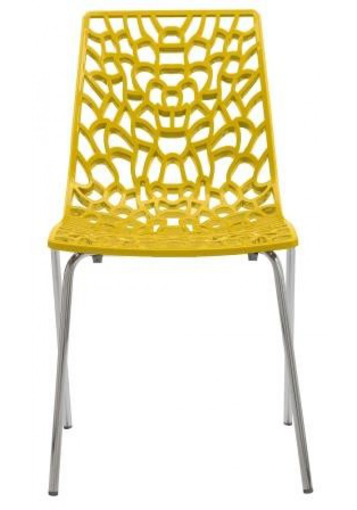 Designstoel / kantinestoel Move hoogglans Geel|VDB Kantoortotaal