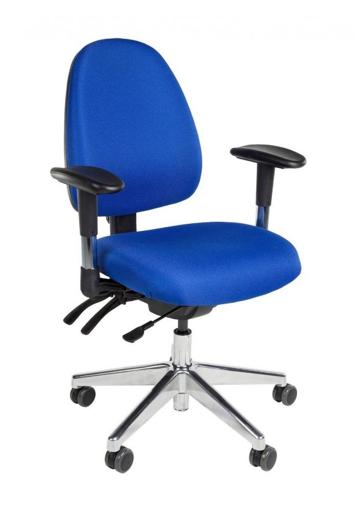Bureaustoel Novara Blauw met schuifzitting en chroom voetkruis incl armleggers|VDB Kantoortotaal