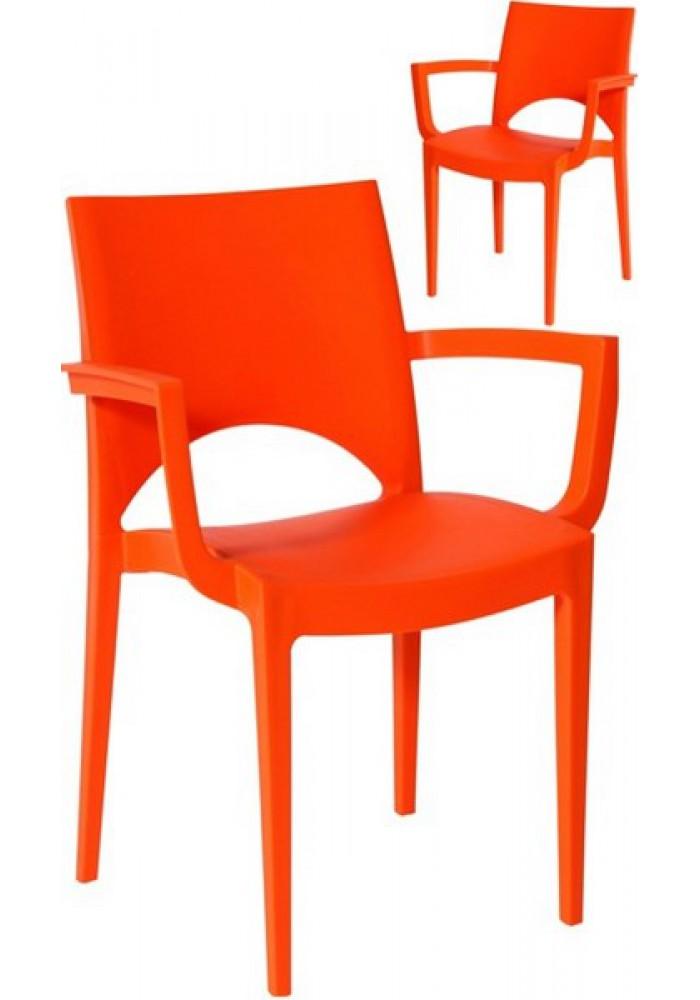 Kantinestoel, Kunsstof Parri + Ar oranje|VDB Kantoortotaal
