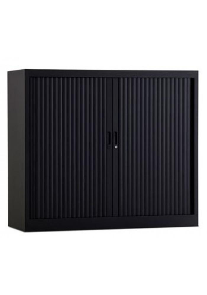 Roldeurkast 105 hoog zwart incl 2 legborden