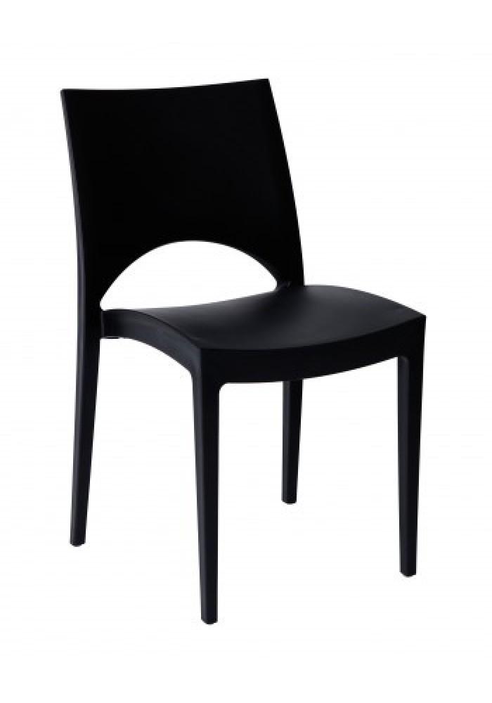 Kantinestoel/ terrasstoel/kunststofstoel Parri zwart|VDB Kantoortotaal